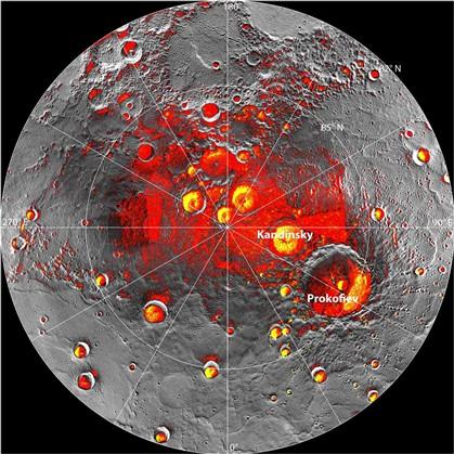 Uma imagem de radar da região polar norte foi divulgada hoje com informações recolhidas pelo Messenger.