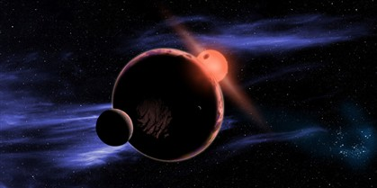 Hipotético planeta habitável a orbitar uma anã vermelha