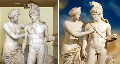 As estátuas antes e depois dos trabalhos exigidos por Berlusconi, em 2010. Agora, voltaram ao seu estado inicial