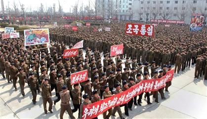 """Norte-coreanos organizaram uma manifestação de """"vontade pela vitória"""" contra os EUA"""