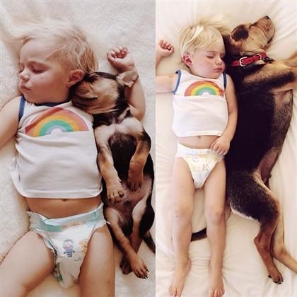 Beau e o cão 'Theo' dormem a sesta juntos já há alguns meses