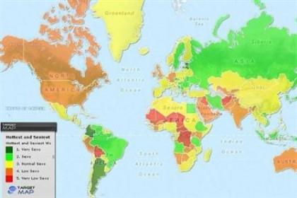 """O """"TargetMap"""" apresenta um mapa dividido por cores, conforme as zonas do planeta com mulheres mais e menos """"sexy"""""""
