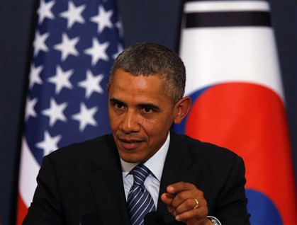 Barack Obama em Seul, na conferência de imprensa em que anunciou a iminência de novas sanções à Rússia