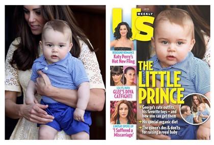 À esquerda, o príncipe George ao colo de kate Middleton. À direita, na capa da 'US Weekly'