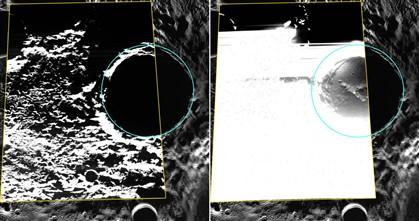 À esquerda, a imagem da cratera, próxima do polo Norte de Mercúrio, onde é visível o gelo. Na imagem da direita, a mesma foto com os níveis ajustados de forma a ver-se o fundo da cratera