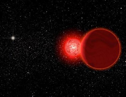 Ilustração mostra a estrela de Scholz e sua companheira, com o sol ao fundo (à esquerda)