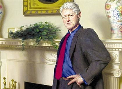 Retrato de Bill Clinton tem refer�ncia escondida a esc�ndalo com Lewinsky