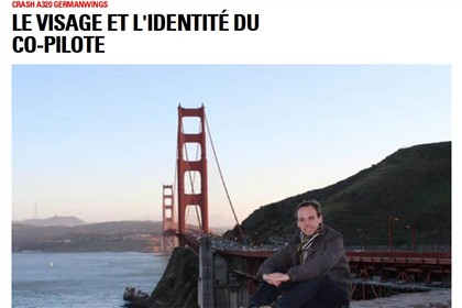 A revista francesa Paris Match identificou o rosto do copiloto, Andreas Lubitz, com esta fotografia.