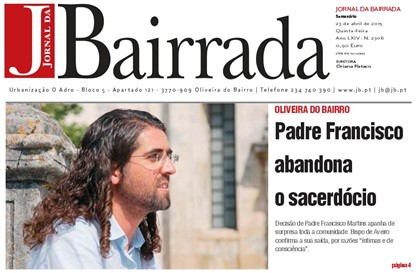 O padre Francisco Martins surgiu na capa da imprensa local.
