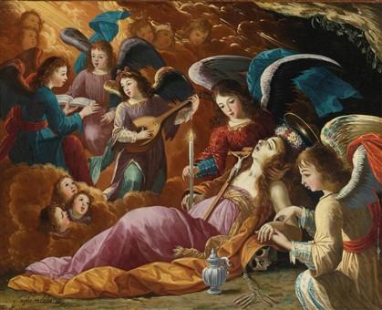 Maria Madalena confortada pelos Anjos, assinado por Josefa de Óbidos, foi a leilão na Sotheby's. Custou 269 mil euros