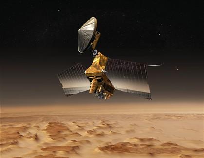 Esta imagem da Nasa imagina a Mars Reconnaissance Orbiter sobre o planeta vermelho