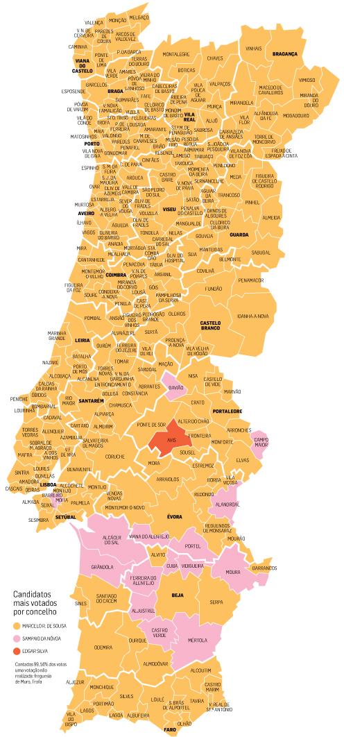 mapa de concelhos portugal Marcelo teve mais votos em todos os distritos: veja o mapa mapa de concelhos portugal