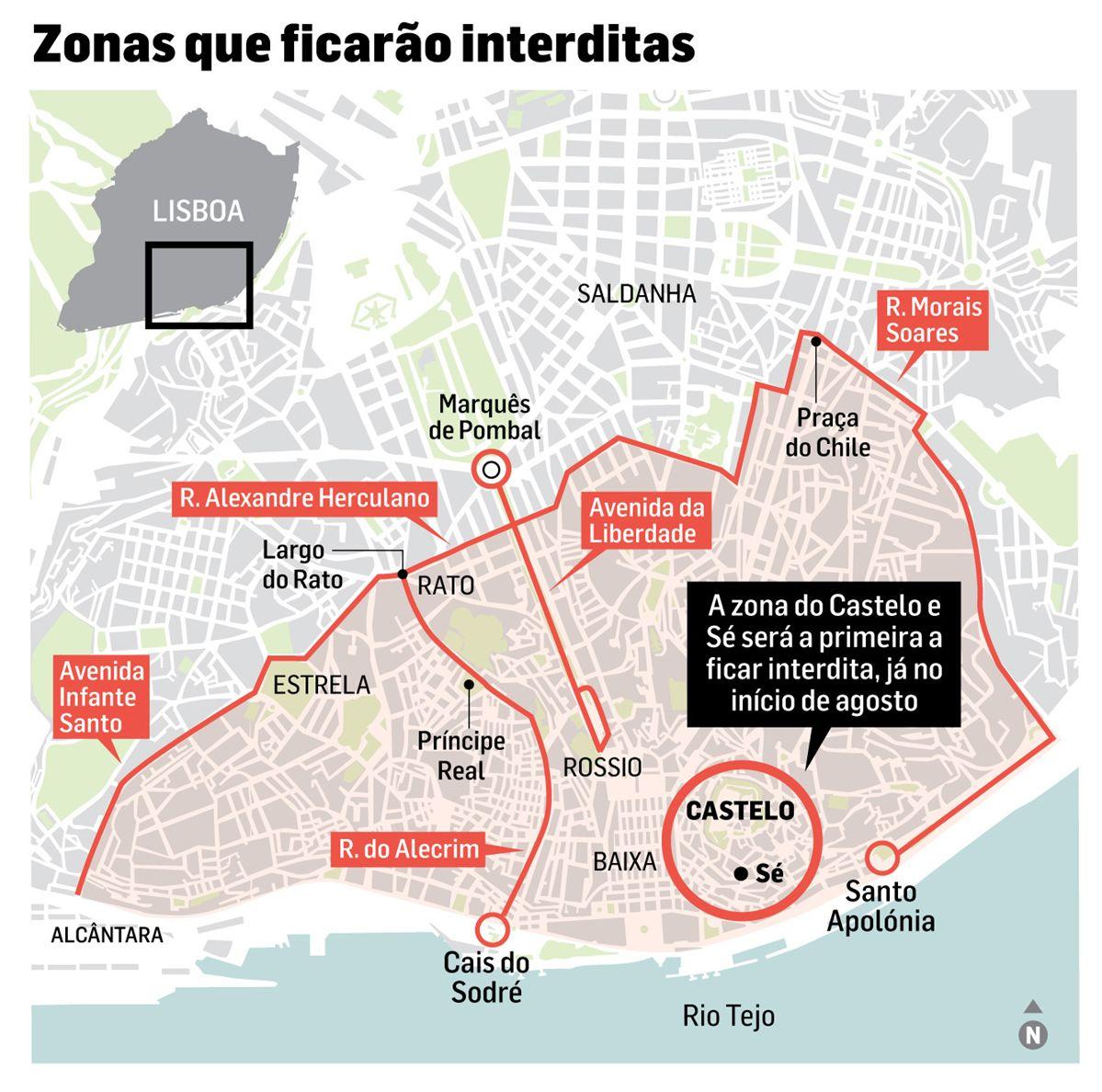 zonas de lisboa interditas a carros antigos mapa Câmara vai vedar coração de Lisboa a autocarros turísticos ocasionais zonas de lisboa interditas a carros antigos mapa