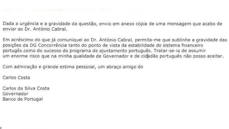 Excerto de mensagem enviada por Carlos Costa a Durão Barroso em Janeiro de 2013