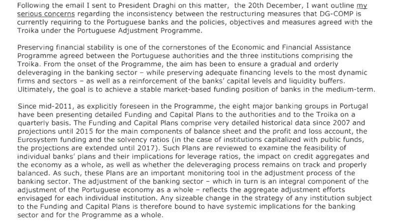 Excerto de mensagem enviada por Carlos Costa ao BCE em Janeiro de 2013