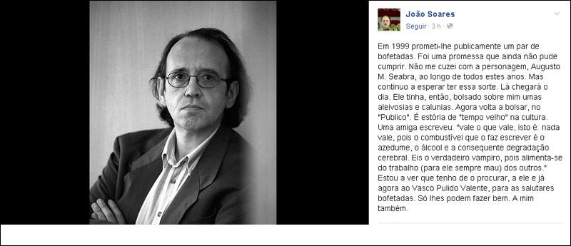 """Ministro da Cultura promete """"par de bofetadas"""" a cronista do Público"""