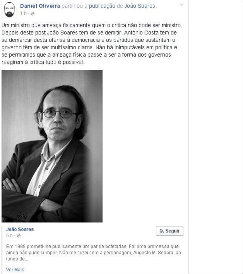 """""""Bofetadas"""" de João Soares levam a primeiros pedidos de demissão"""