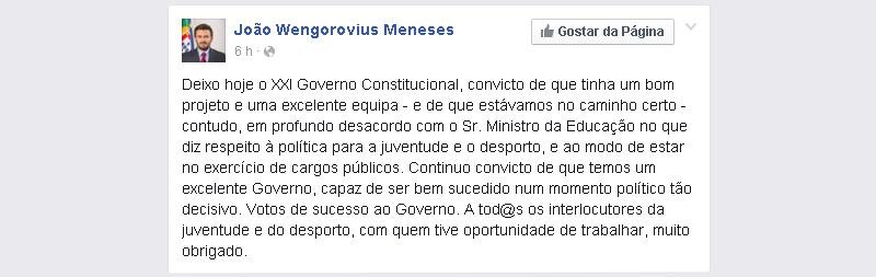 """Wengorovius Meneses sai do Governo """"em desacordo"""" com o ministro da Educação"""