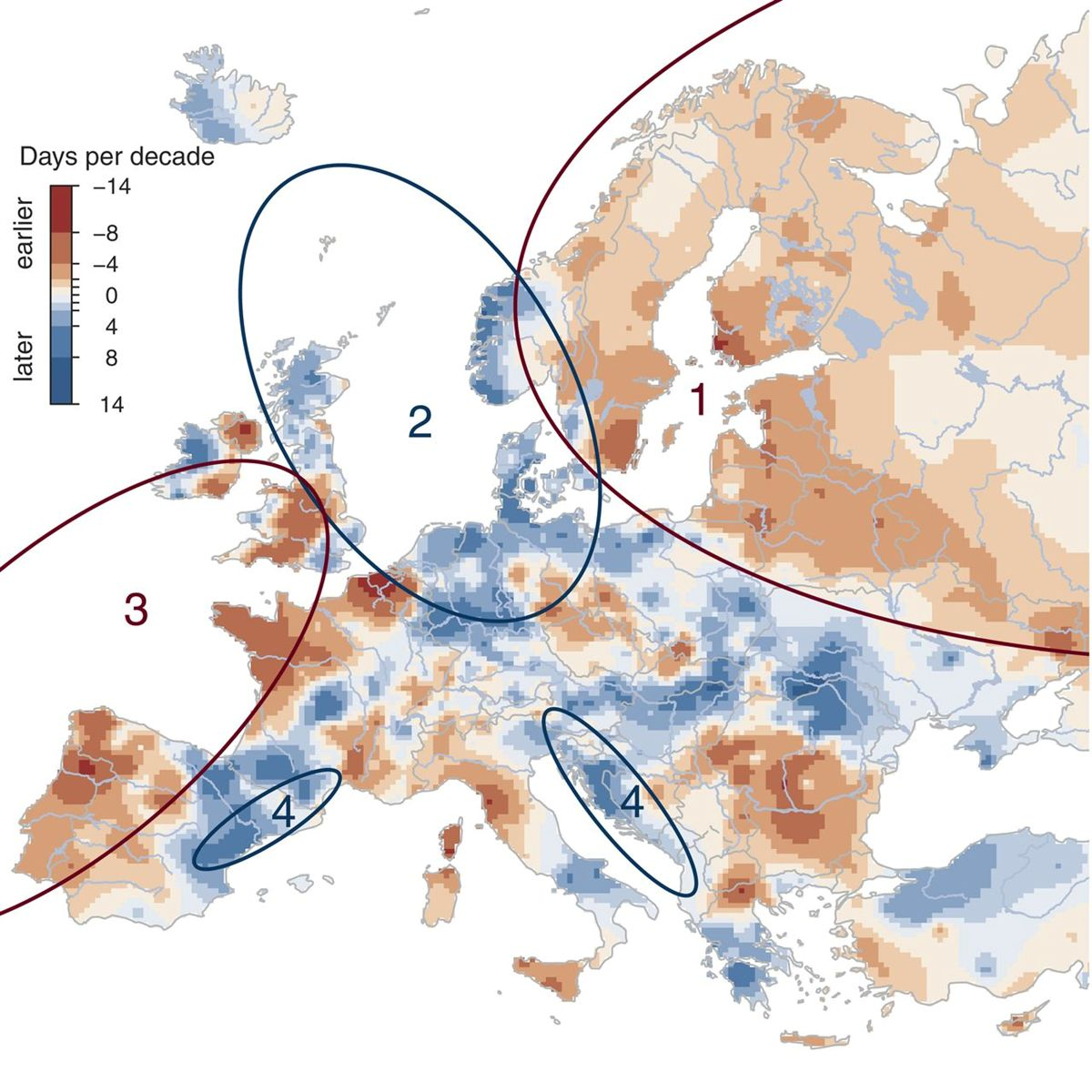 Tendências do período de cheia nos rios europeus