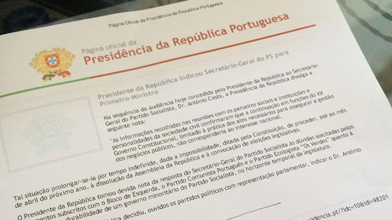 António Costa indigitado primeiro-ministro